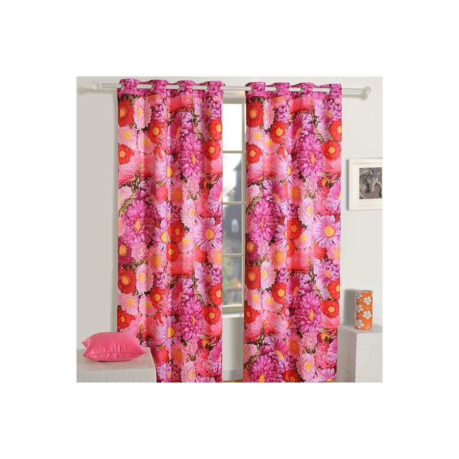 Flower-Stripe Lounge Curtains-1108