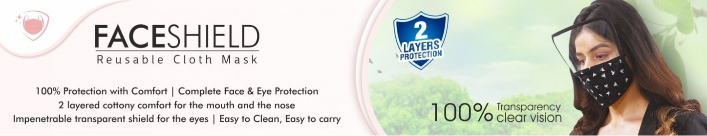 Reusable Face Shield Cloth Mask | 2 Layer Face Shield Safety Mask